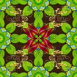 Abstract colored picture. Embroidery summer seamless pattern. Classical embroidery autumn leaves, acorns wild forest. Leaves on green, brown and yellow colors stock illustration