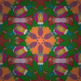 Abstract colored picture. Ethnic ornament on green, red, magenta colors. Hand drawn vector colored Mandala seamless pattern. Arabic, indian, turkish, ottoman royalty free illustration
