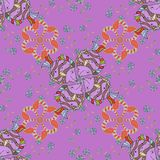 Abstract colored picture. Seamless Floral Pattern in Vector illustration. Flowers on orange, pink, violet and neutral background Stock Photography