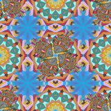 Abstract colored picture. Seamless pattern with bright summer flowers in orange, blue and neutral colors. Endless vector texture for romantic design, decoration Royalty Free Stock Photography