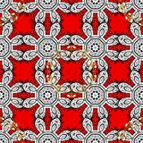 Abstract colored picture. Vector pattern background sketch with white antique floral medieval decorative flowers, leaves and white pattern ornaments on red Stock Images