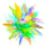 Abstract colored powder explosion isolated on white background. Stock Images