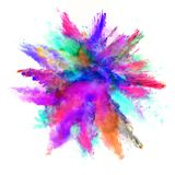 Abstract colored powder explosion isolated on white background. Royalty Free Stock Photo