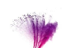 Colored powder explosion. Colore dust splatted. Abstract of colored powder explosion on white background. Multicolor powder splatted isolate. Colorful cloud stock photo