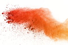 Explosion of colored powder, isolated on white background. Abstract of colored dust splatted. Color cloud. Abstract of colored powder explosion on white royalty free illustration