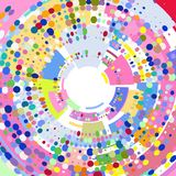 Abstract colored radial 3 D background dots and geometric shapes. vector illustration