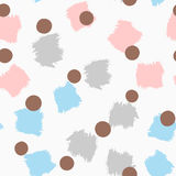 Abstract colored seamless pattern with brushstrokes and circles. Royalty Free Stock Photography
