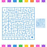 Abstract colored square maze. An interesting game for children and teenagers. Simple flat vector illustration isolated on white ba. Ckground. With the answer Stock Photos