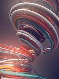 Interlacing abstract blue red and white curves. 3D rendering. Abstract colored strands. Blue red and white lines pattern. 3D rendering Royalty Free Stock Photography
