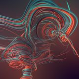 Interlacing abstract colored curves. 3D rendering. Abstract colored strands. Lines pattern. 3D rendering royalty free illustration