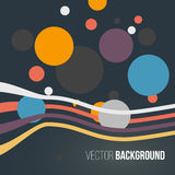 Abstract colored striped waves and circles on the dark background. Vector. Illustration Stock Image