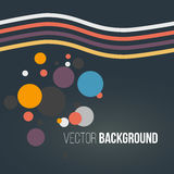 Abstract colored striped waves and circles on the dark background. Vector. Illustration Royalty Free Stock Image