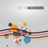 Abstract colored striped waves and circles on the light background. Vector. Illustration Royalty Free Stock Photography