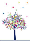 Abstract colored tree with hearts and butterflies Stock Image