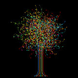 Abstract colored tree over black background Royalty Free Stock Photos
