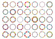 Abstract colored twisted round frames set bright festival design. Elements. Vector illustration Royalty Free Stock Photography