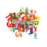 Abstract colored vector background with  graffiti design. Royalty Free Stock Photography