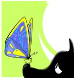 Abstract color image of the large butterfly and dog. Abstract colored vector illustration image of yellow purple butterfly and head of large black dog vector illustration