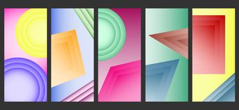 Abstract colored vertical banners. Set of colored vertical banners with geometric shapes. stock illustration