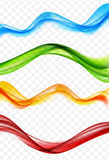 Abstract Colored Wave Set on Transparent  Background. Vector Ill. Ustration. EPS10 Royalty Free Stock Image