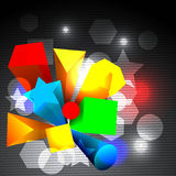 Abstract colorful 3d shapes. And lights royalty free illustration