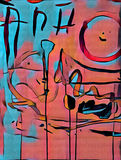 Abstract colorful acrilic painting with splash,flow down, drips, smile and lettering. Abstract colorful acrilic painting with smile and lettering for collage and Stock Illustration