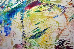 Abstract and colorful acrylic painting with texture details. On paper royalty free stock images