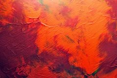 Abstract and colorful acrylic painting with texture details in reds and orange tones. Abstract and colorful acrylic painting with texture details on paper stock photography