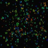Abstract colorful alphabet fly on black background Royalty Free Stock Photo