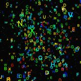 Abstract colorful alphabet fly on black background Royalty Free Stock Photos