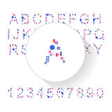 Abstract colorful alphabet, font, letter set with numbers Royalty Free Stock Image