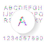 Abstract colorful alphabet, font, letter set with numbers Stock Photography