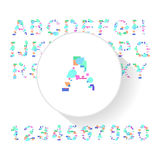 Abstract colorful alphabet, font, letter set with numbers Royalty Free Stock Photography
