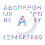 Abstract colorful alphabet, font, letter set with numbers Stock Images