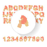 Abstract colorful alphabet, font, letter set with numbers Royalty Free Stock Images