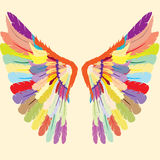 Abstract colorful angel wings; Colorful wings logo. Beautifully colored gothic wings; colorful wings logo Stock Photos