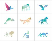 Colorful and abstract animal logos set. Lion, dog, horse, fish vector icons, bird and pet shop and care center illustration. Royalty Free Stock Photos