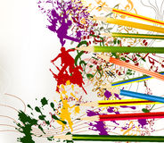 Abstract colorful art vector background with ink splash and penc. Abstract vector art background with art objects on white Stock Photography