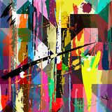 Abstract colorful artwork. With paint strokes, splashes and squares/triangles royalty free illustration