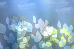 Abstract colorful autumn background with leaves on blue sky. Spa. Ce royalty free illustration