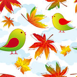 Abstract colorful autumn leaves with birds. Seamless pattern Stock Photos