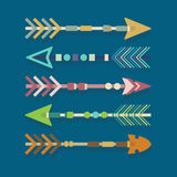 Abstract colorful Aztec tribal arrows set Royalty Free Stock Images