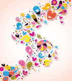 Abstract colorful background. Colorful illustration with cartoon characters Stock Images