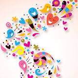 Abstract colorful background. Illustration with cute little characters Stock Images