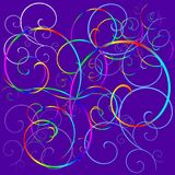 Abstract colorful background. An illustrated, abstract view of colorful curls and swirls on a lilac background vector illustration
