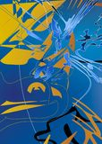 Abstract Colorful Background. An illustrated background with an abstract design in blue and yellow colors Stock Image