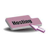 Hosting button. Abstract colorful background with an  computer button with the word hosting written with black letters Stock Photo