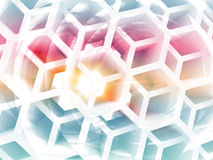 Abstract colorful background 3d. Abstract 3d colorful background with white honeycomb structure Royalty Free Stock Photography