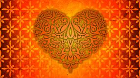 Orange heart background with bright gradient and blur effects royalty free stock photos