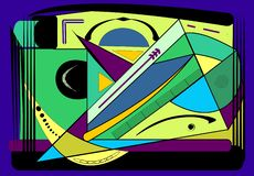 Abstract colorful background ,fancy curved shapes and lines blue green -18-102. Abstract colorful composition , fancy geometric and curved shapes ,blue, yellow vector illustration